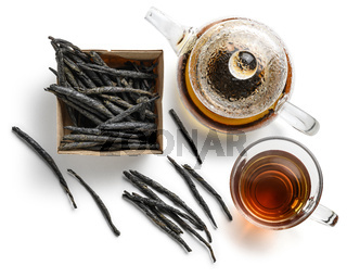 Tea Kuding on a white background. The view from the top