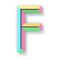 Neon color bright font Letter F 3D