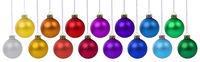 Weihnachten viele Weihnachtskugeln Sammlung Banner Weihnachts Kugeln Farben Dekoration hängen Freisteller freigestellt isoliert