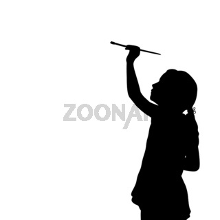 Silhouette little girl with brush draws blank space on white background
