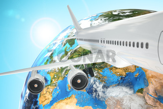 Airplane travel background. Airliner and earth.