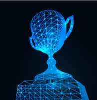 First place award cup with polygonal grid on dark background. Vector