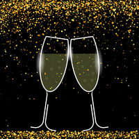 Two Sparkling Glasses on Yellow Confetti. Champagne Celeration. Alcoholic Fizzy Drink. Congratulations. Cheers