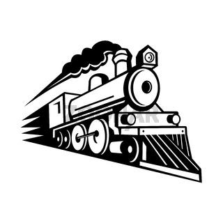 Steam Locomotive Speeding Forward Retro Mascot Black and White