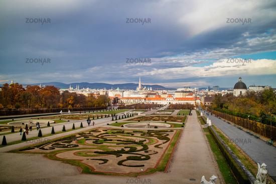 Baroque palace complex Schloss Belvedere with regular parterre garden in Vienna.