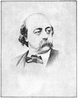 Portrait of Gustave Flaubert - a French novelist. Illustration of the 19th century. White background