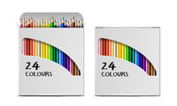 Set of Vector realistic boxes of colored pencils with circular cross section isolated on white.