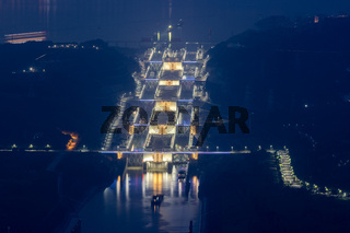 night scene of three gorges five-level ship lock