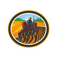Farmer Driving Tractor Plowing Field Circle Retro