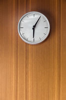 Wood wall with a clock