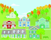 Small town in the mountains, landscape - illustration, vector,
