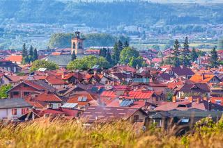 Summer old town panorama in Bansko, Bulgaria