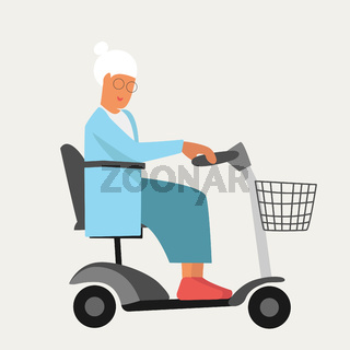 Granny old woman on wheelchair electric scooter in flat style. Happy retirement for disabled people. Stop ageism. Active senior mobility