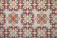 Checkered traditional Bulgarian ceramic mosaic tile background pattern