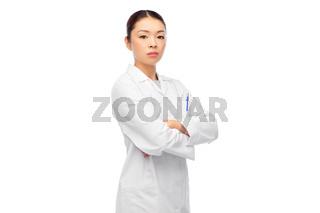 asian female doctor in white coat