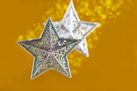 Christmas card with silver stars.