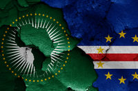 flags of African Union and Cape Verde  painted on cracked wall