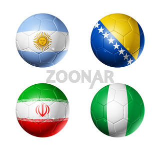 Brazil world cup 2014 group F flags on soccer balls