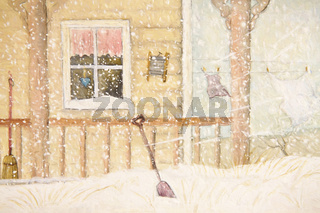 Front porch in snow with clothesline, digitally altered