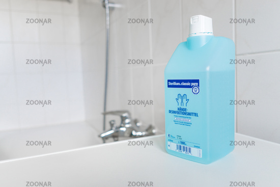 GERMANY - MARCH 22, 2020: Virus und Bacteria prevention equipment. Hand sanitizer for hygiene against coronavirus pandemic and prevention.