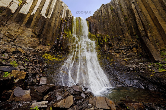 Waterfall with basalt columns at Studlagil, East Iceland, Iceland, Europe