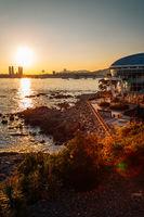 Sunset view of Gwangan bridge and sea at Haeundae Dongbaekseom island in Busan, Korea