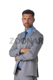 Mature business man portrait on white