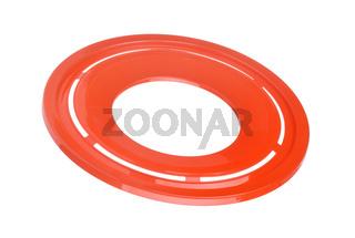 Red plastic flying disk