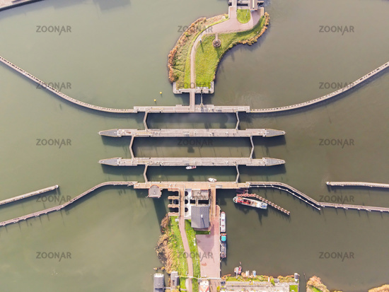 Aerial view of a sluice water works in the Netherlands passageway for boats