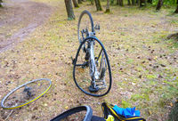 repair bike in the way in the forest, puncture Bicycle tire wheel