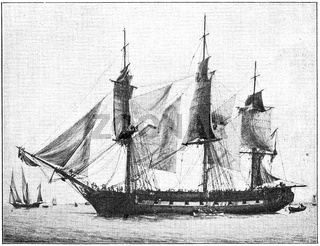La Victorieuse  (1804) - a 22-gun corvette of the French Navy. Illustration of the 19th century. Germany. White background.