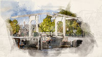 Watercolor Amsterdam Bridge