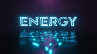 Energy neon sign with glowing cable