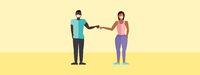 Fist Bump Man and Woman Vector
