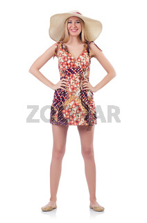 Beautiful woman in summer dress isolated on white