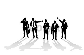 Various business man silhouettes