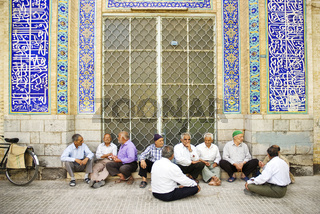old men socializing in yazd iran