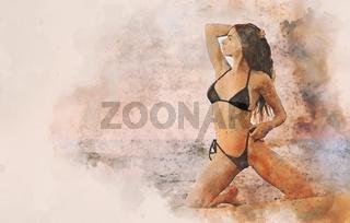 Sexy woman in bikini posing near the sea. Watercolor image
