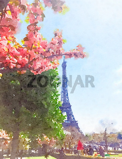 Watercolour Art Print, Travel in Europe Scene
