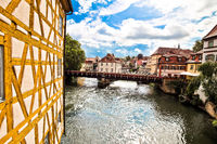 Bamberg. Scenic view of Old Town Hall of Bamberg (Altes Rathaus) with bridges over the Regnitz river