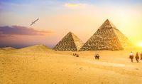 Riders near pyramids