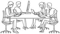Group of people studying on PC - vector illustration