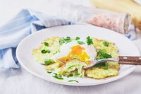 Zucchini pancakes poached egg