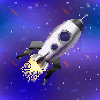 Bright spaceship, cute rocket in pixel art style on space background
