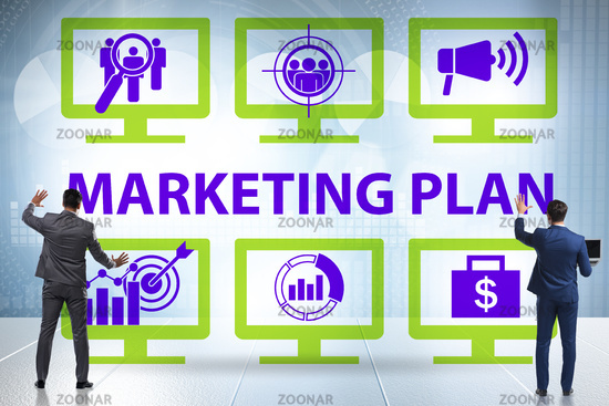 Marketing concept illustration with businessman pressing button