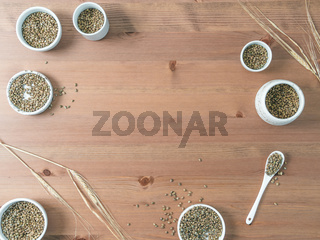 Hemp seeds flat lay copy space