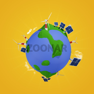 Alternative energy concept, 3d low poly world