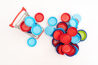Plastic bottle caps. Separate garbage collection. Waste disposal.