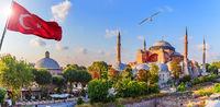 Hagia Sophia Museum and the flag of Turkey, Istanbul