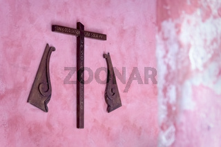 Wooden cross in the former monestary Convent de San Bernardino de Siena in Valladolid, Yucatan, Mexico